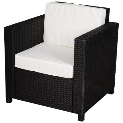 Black Lightweight Plastic Rattan Wicker Outdoor Lounge Chair Sofa with White Cushions, & Water Resistant Material