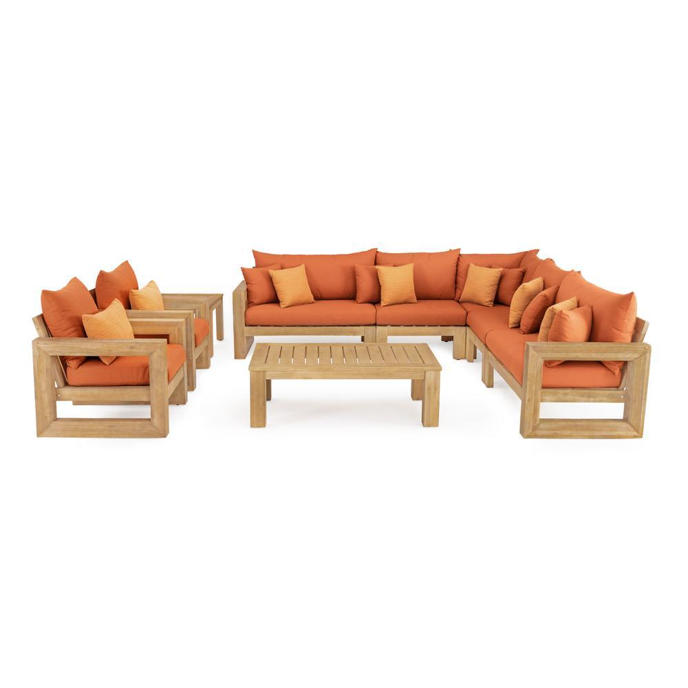 Benson 9-Piece Wood Patio Sectional Seating Set with Sunbrella Tikka Orange Cushions