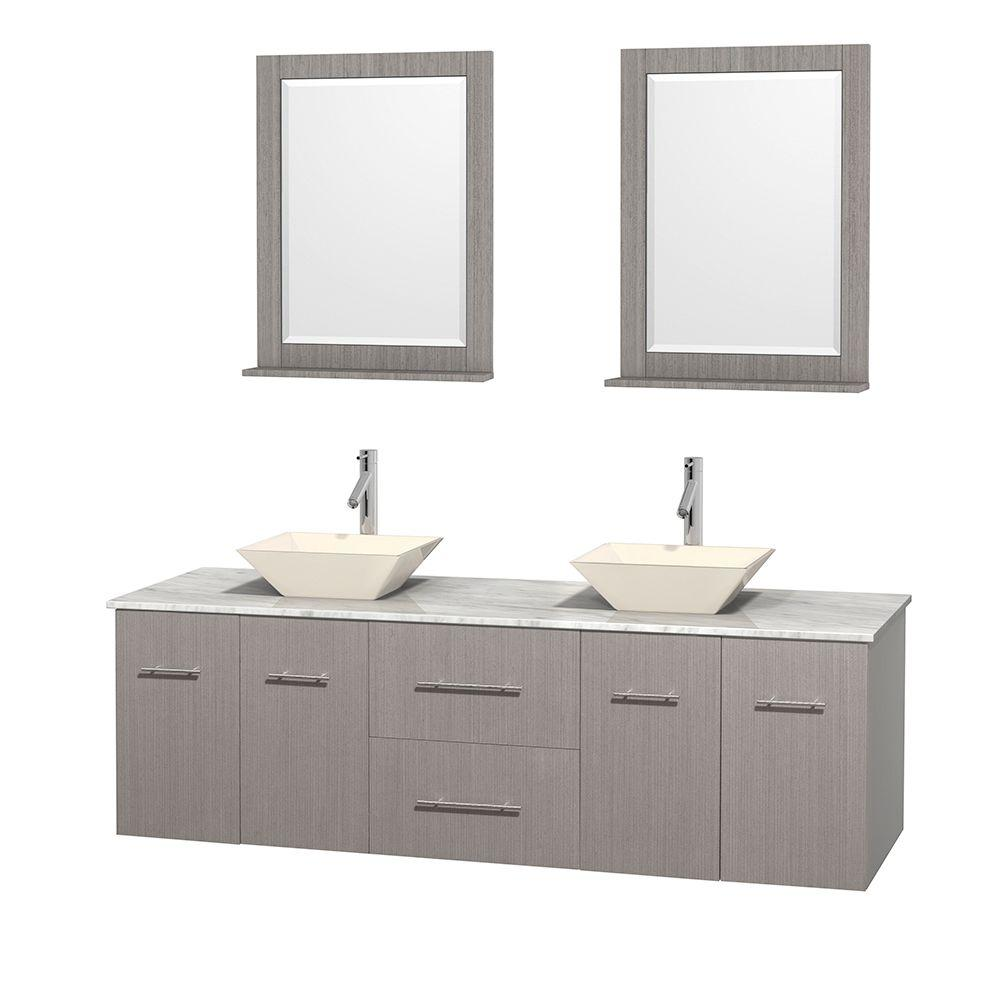 Wyndham Collection Centra 72 in. Double Vanity in Gray Oak with Marble Vanity Top in Carrara White, Bone Porcelain Sinks and 24 in. Mirror