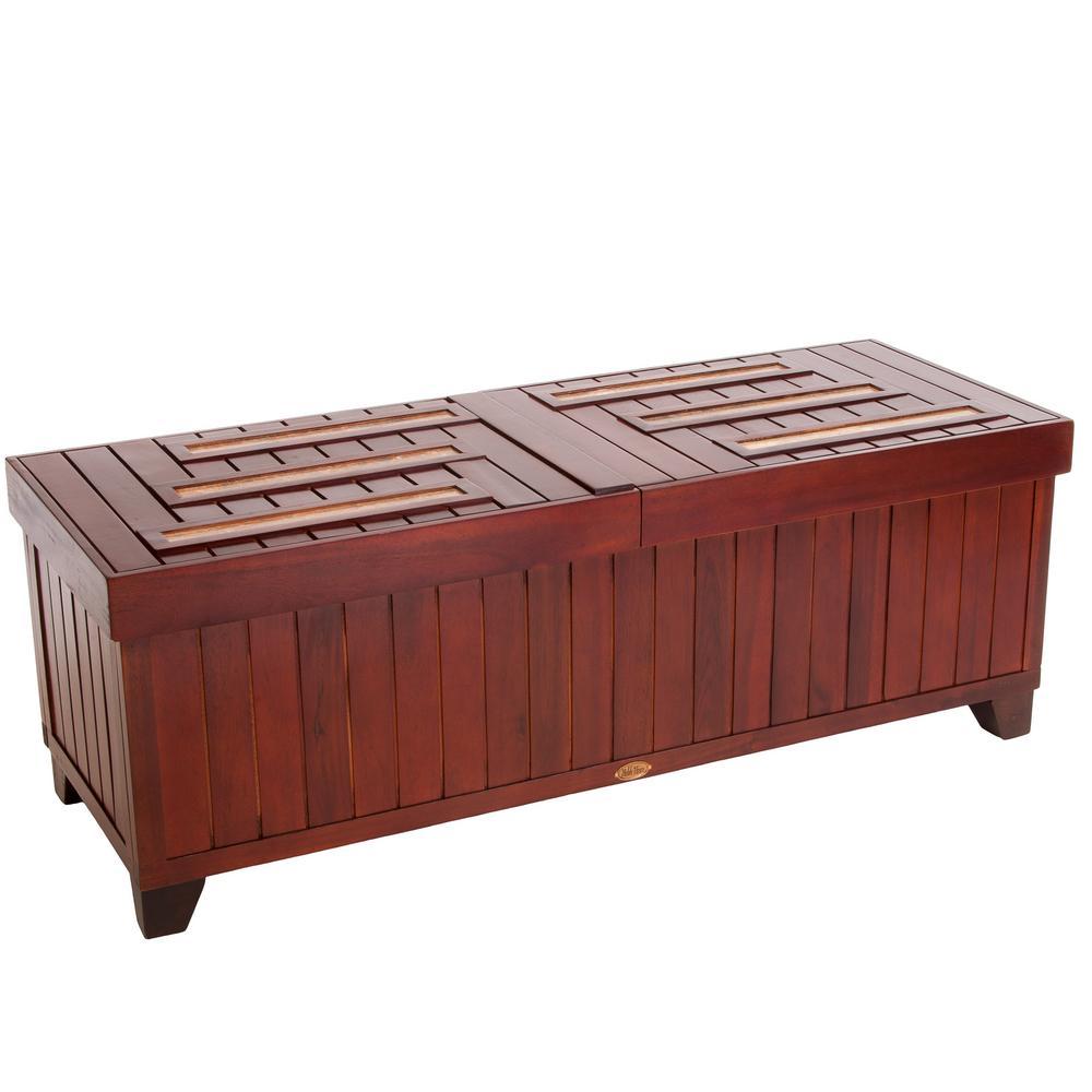 Laredo Mahogany Brown Acacia Wood Storage Bench