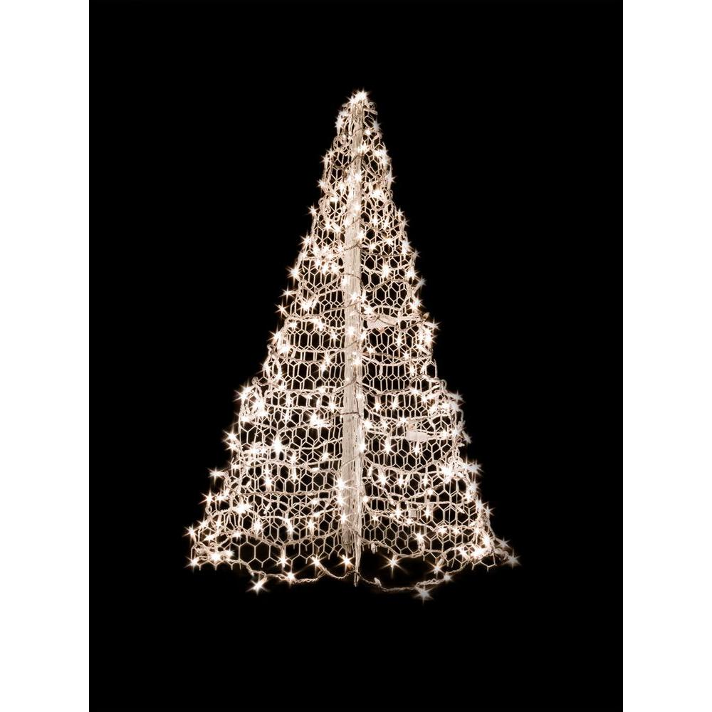 Outdoor Christmas Tree With Lights.Crab Pot Trees 4 Ft Indoor Outdoor Pre Lit Incandescent Artificial Christmas Tree With White Frame And 300 Clear Lights