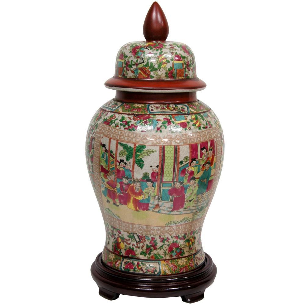 Oriental Furniture 18 in. Porcelain Decorative Vase in Red