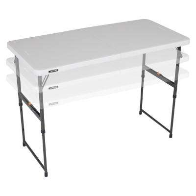 48 in. Almond Plastic Adjustable Height Fold-in-Half Folding Table