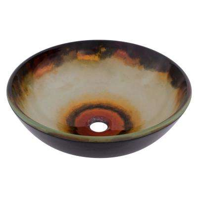 Occaso Glass Vessel Sink in Hand Painted Multicolor