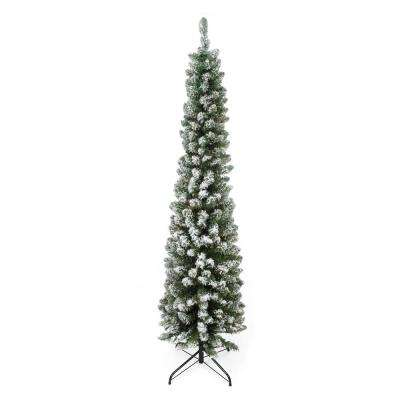 6 ft. x 20 in. Flocked Traditional Green Pine Pencil Artificial Christmas Tree Unlit