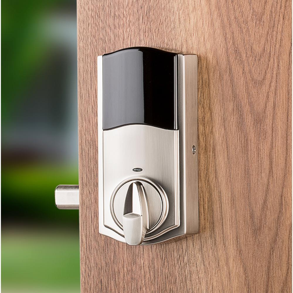 Premis Touchscreen Smart Lock Satin Nickel Single Cylinder Electronic Deadbolt featuring Tustin Hall/Closet Lever