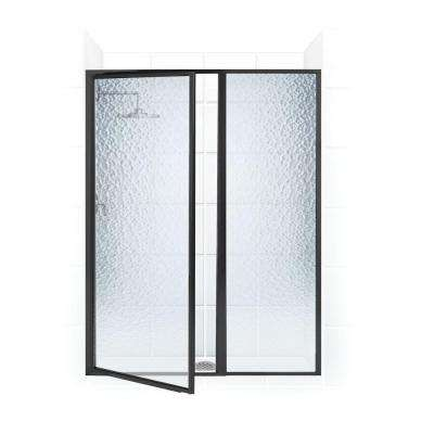 Legend Series 50 in. x 69 in. Framed Hinged Shower Door with Inline Panel in Oil Rubbed Bronze with Obscure Glass