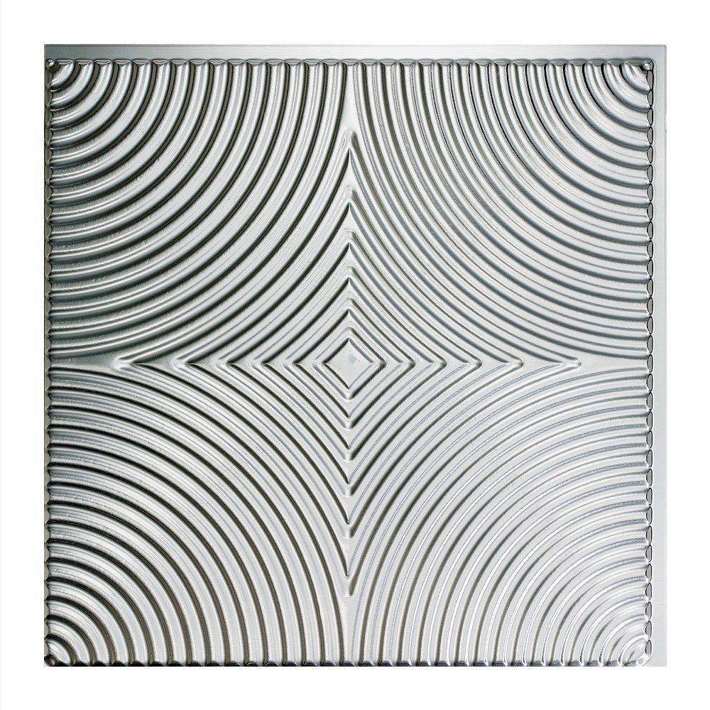 Fasade echo 2 ft x 2 ft glue up ceiling tile in brushed aluminum fasade echo 2 ft x 2 ft glue up ceiling tile in dailygadgetfo Choice Image