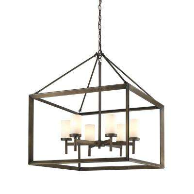 Smyth 6-Light Gunmetal Bronze Chandelier with Opal Glass Shades