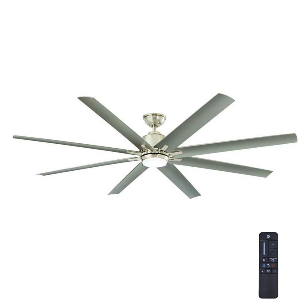 Kensgrove 72 in. Integrated LED Indoor/Outdoor Brushed Nickel Ceiling Fan with