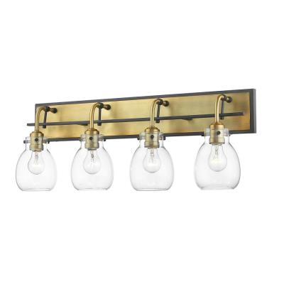 4-Light Matte Black and Olde Brass Vanity Light with Clear Glass