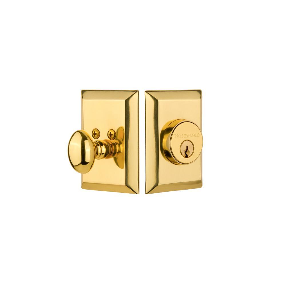 New York Plate 2-3/8 in. Backset Single Cylinder Deadbolt in Polished Brass