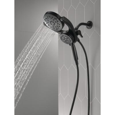 HydroRain Two-in-One 4-Spray Patterns 6 in. Wall Mount Dual Shower Heads with MagnaTite in Matte Black