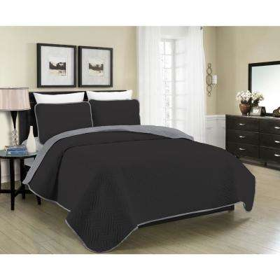 Reversible Austin 3-Piece Black and Grey Full and Queen Quilt Set