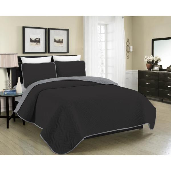 Morgan Home MHF Home Allison Reversible 3-Piece Black and Grey Full