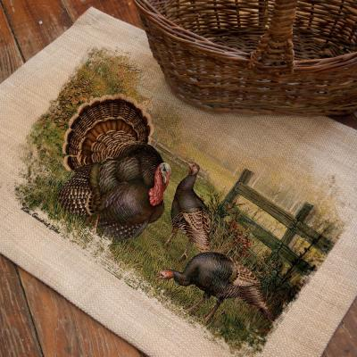 Wild Turkey 14 in. x 20 in. Natural Placemat (Set of 4)
