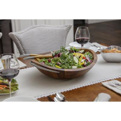 20 in. 32 oz. Braid Wooden Salad Bowl with Servers