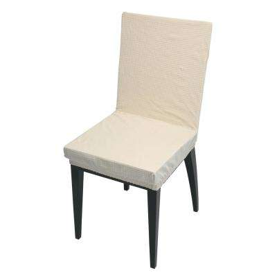 41.73 in. x 15.75 in. Pixel Ivory Stretch Dining Chair Slip Cover