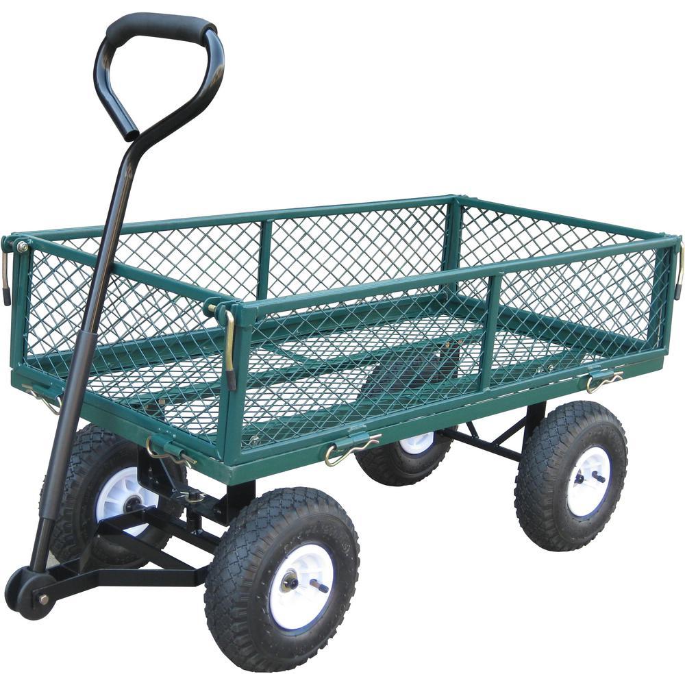 Bond 37.5 in. x 20 in. x 20.19 in. 330 lbs. Capacity Garden Cart, Steel Frame, Fold Down Sides, All-Terrain Pneumatic Wheels