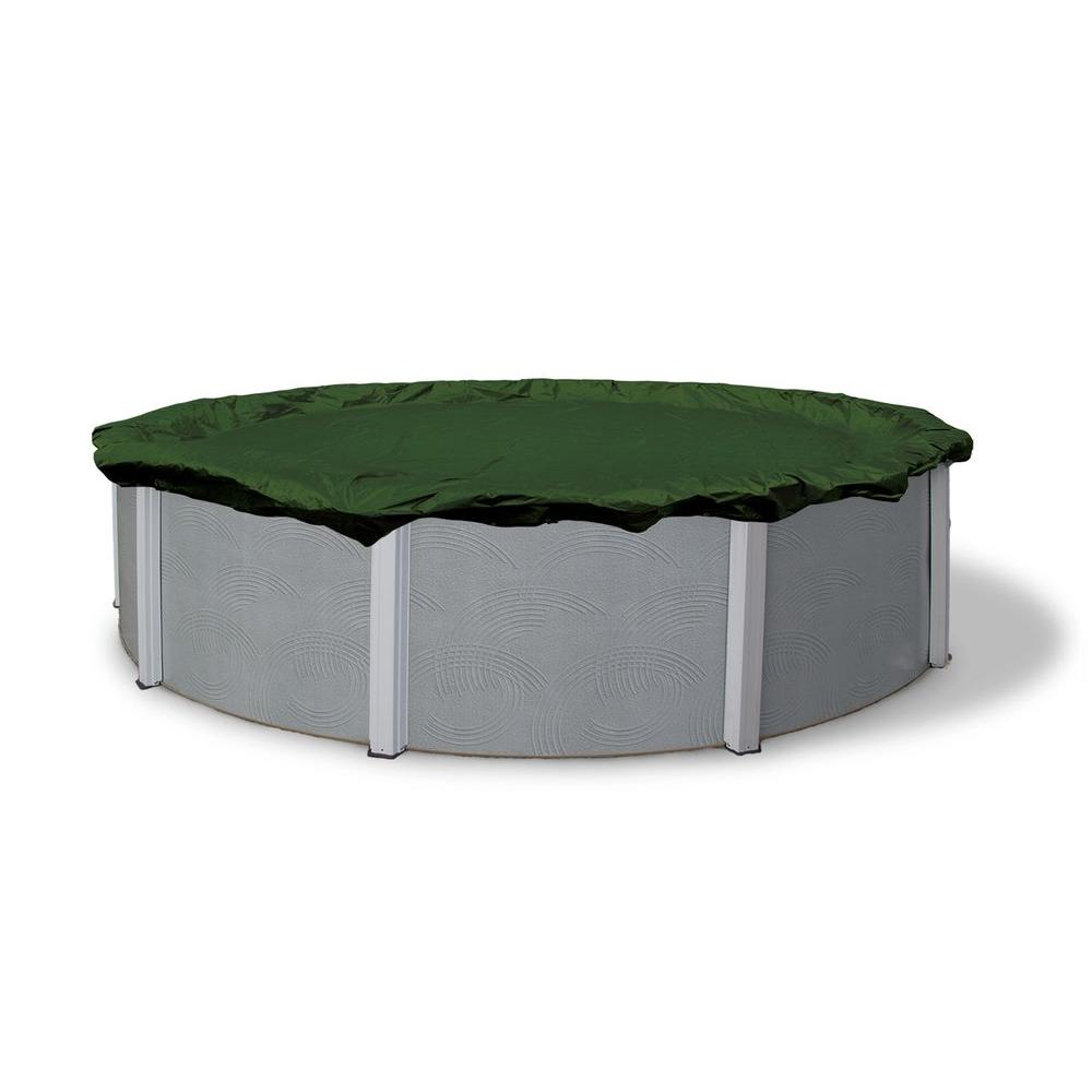 12-Year 12 ft. Round Forest Green Above Ground Winter Pool Cover