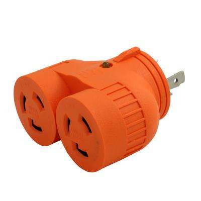 1 to 2 V Outlet Adapter L6-30P 30  Amp 250-Volt 3-Prong Locking Plug to (2) L6-30R Female Connectors