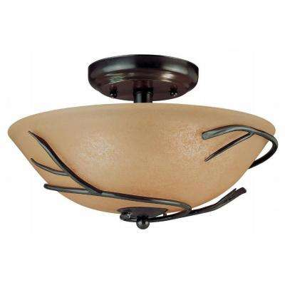 Twigs 2-Light Bronze Flush Mount