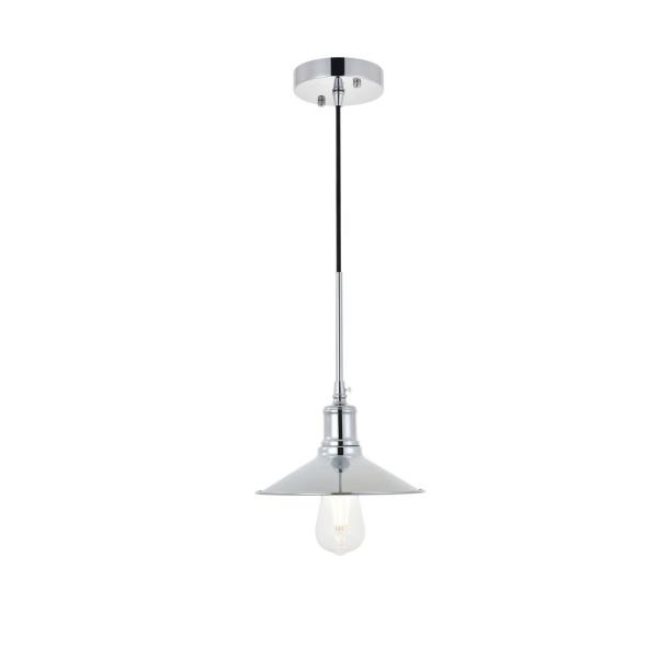 Timeless Home Edwards 1-Light Pendant in Chrome with 9 in. W x 2 in. H Shade
