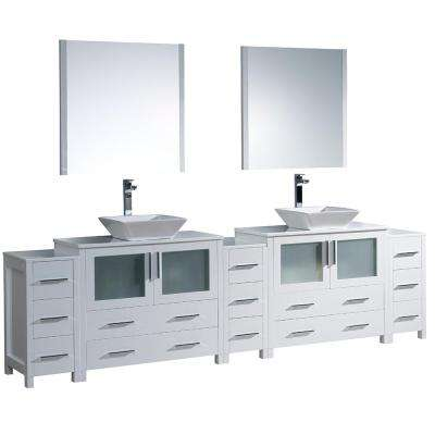 Torino 108 in. Double Vanity in White with Glass Stone Vanity Top in White with White Basins and Mirrors
