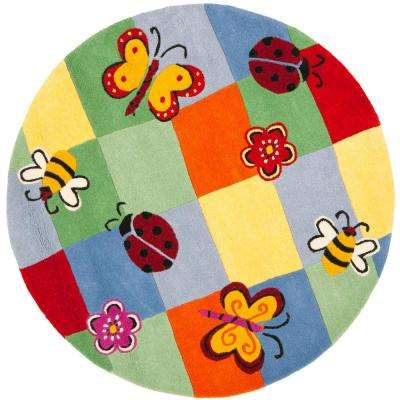 Kids Multi 6 ft. x 6 ft. Round Area Rug