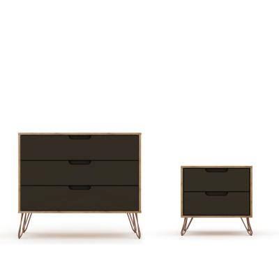 Intrepid 5-Drawer Nature and Textured Grey Mid-Century Modern Dresser and Nightstand (Set of 2)