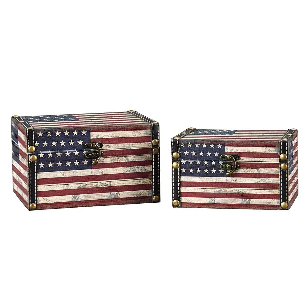 Household Essentials Red White And Blue Storage Trunk 9279 1   The Home  Depot