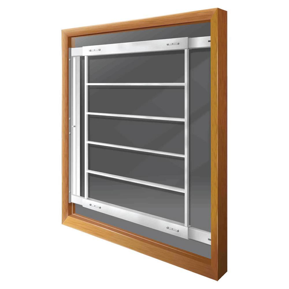Swing-Away 21 in. to 28 in. Adjustable Width 6-Bar Window Guard - White