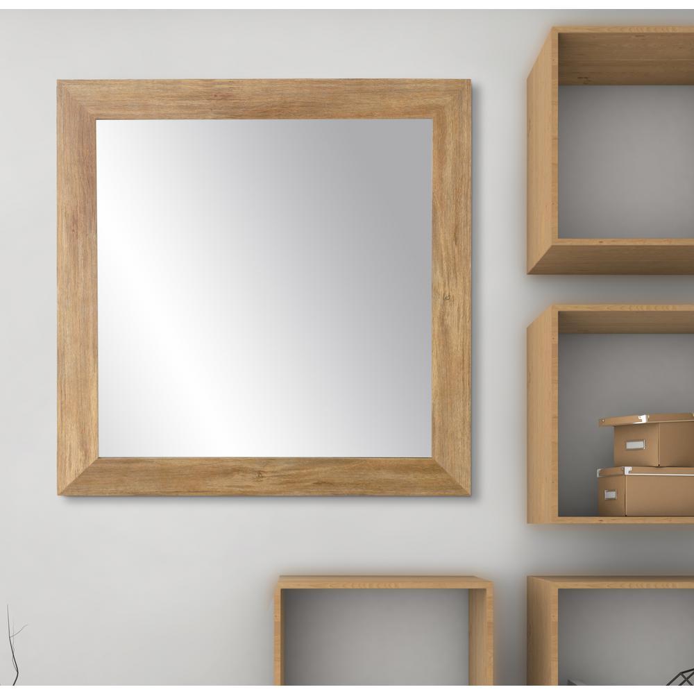 Blonde 32 in. W x 32 in. H Framed Rectangular Bathroom Vanity Mirror in Light Brown