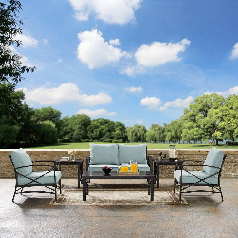 Crosley Kaplan 6-Piece Metal Outdoor Seating Set with Mist Cushions
