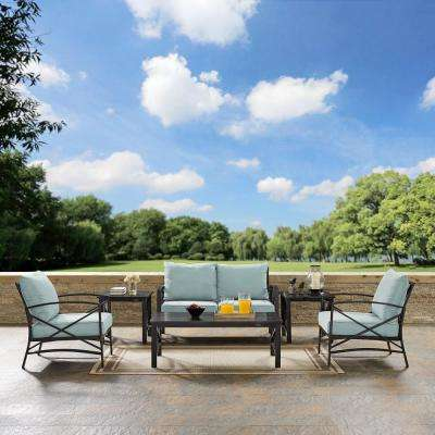 Kaplan 6-Piece Metal Outdoor Seating Set with Mist Cushions