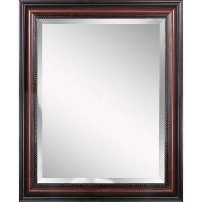 Traditional 30 in. x 42 in. Single Framed Wall Mirror in Cherry