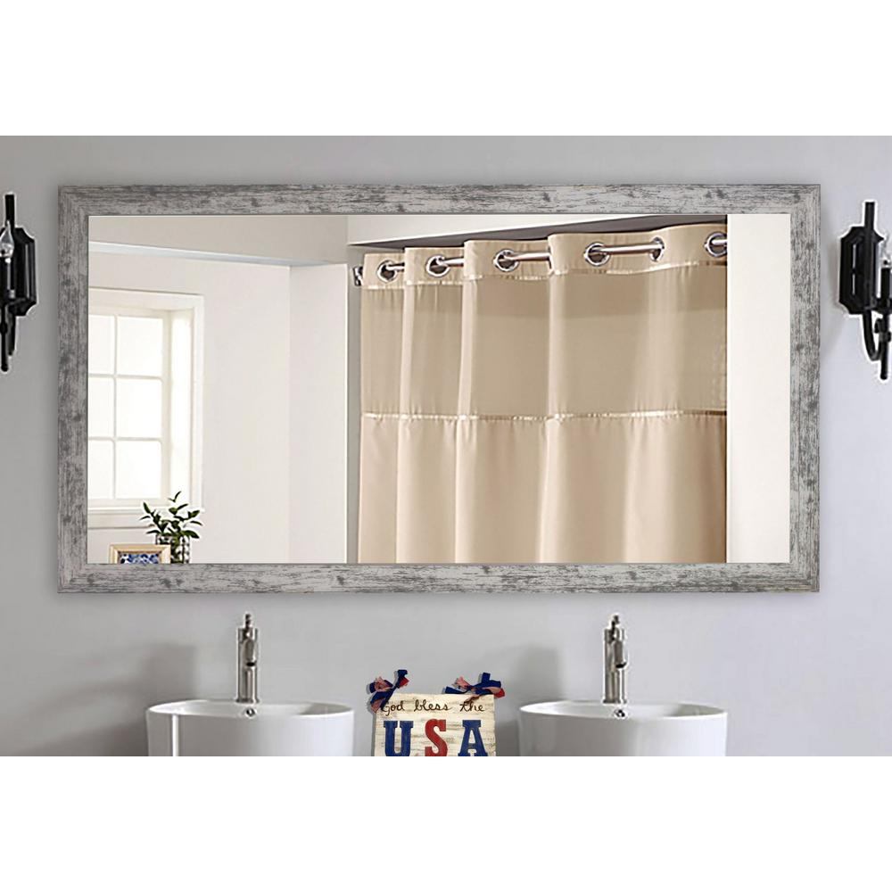 Weathered White Farmhouse Double Vanity Mirror