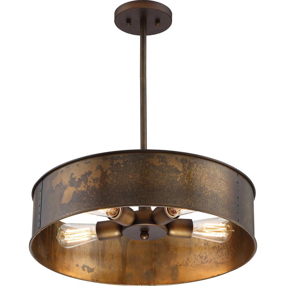 4-Light Weathered Brass Pendant