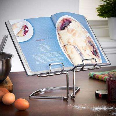 Silver Modern Design Metal Cook Book Holder