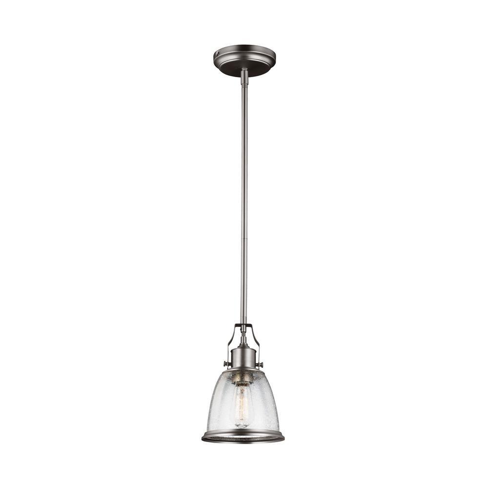 Feiss Hobson 1 Light Satin Nickel Mini Pendant P1354sn The Home Depot