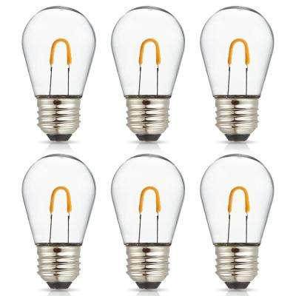 11-Watt Equivalent Curved Filament S14 LED Plastic Light Bulb, Warm White (6-Pack)