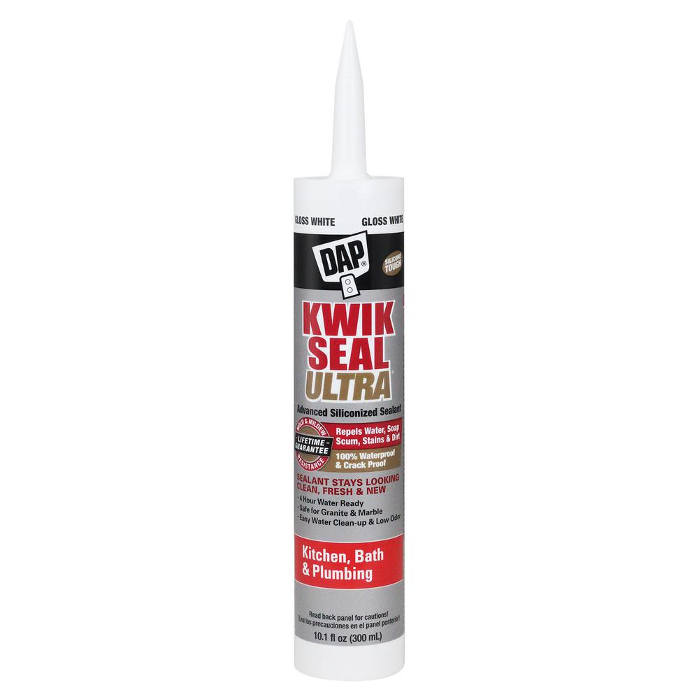 DAP Kwik Seal Ultra 10.1 oz. White Advanced Siliconized Kitchen and Bath Caulk