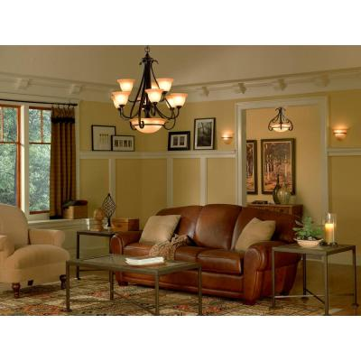 Torino 9-Light Forged Bronze Chandelier with Tea-Stained Glass Shade