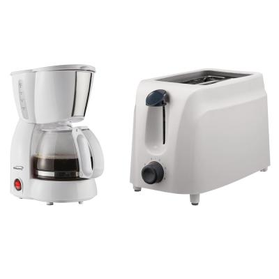 4-Cup White Coffee Maker and 2-Slice White Toaster