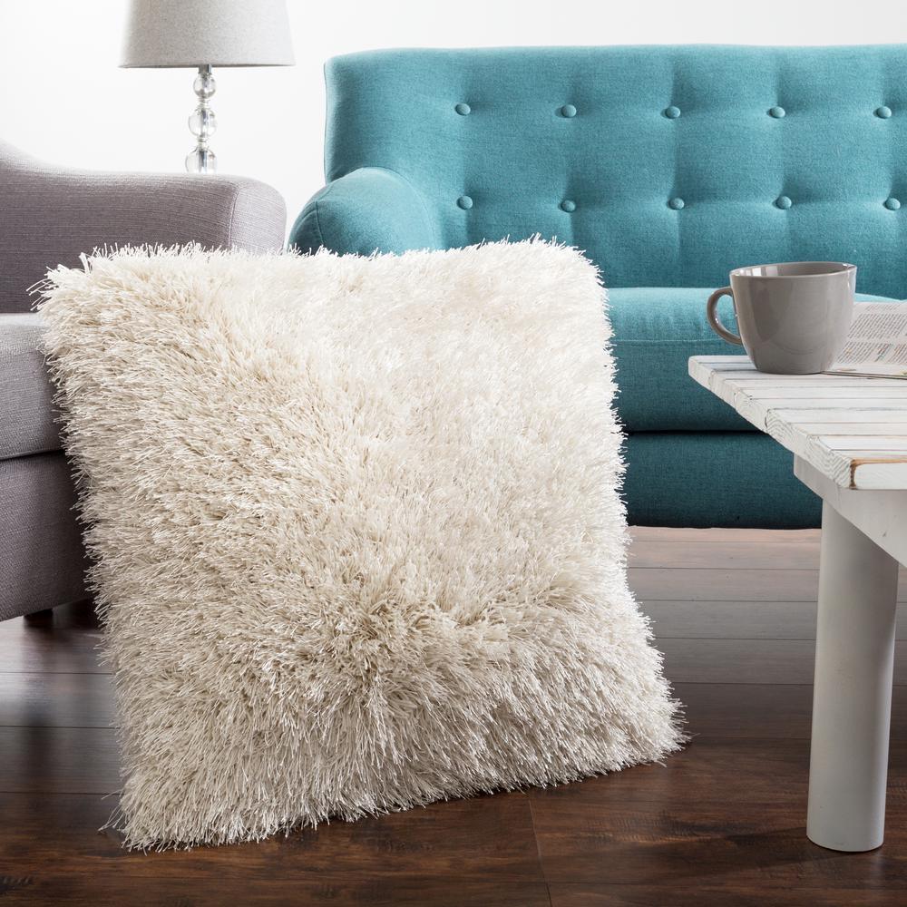 Lavish Home 21 in. x 21 in. Beige Shag Floor Decorative Pillow-66-04 ...