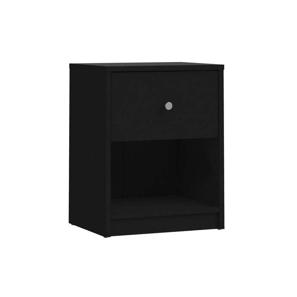 Portland Black 1-Drawer Nightstand