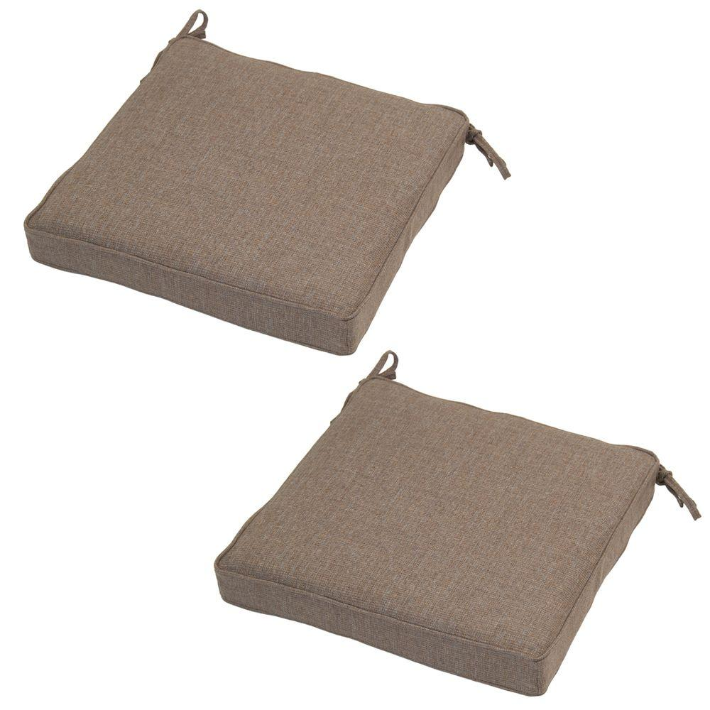 Hampton Bay 20 X 19 Outdoor Chair Cushion In Standard Saddle (2 Pack)