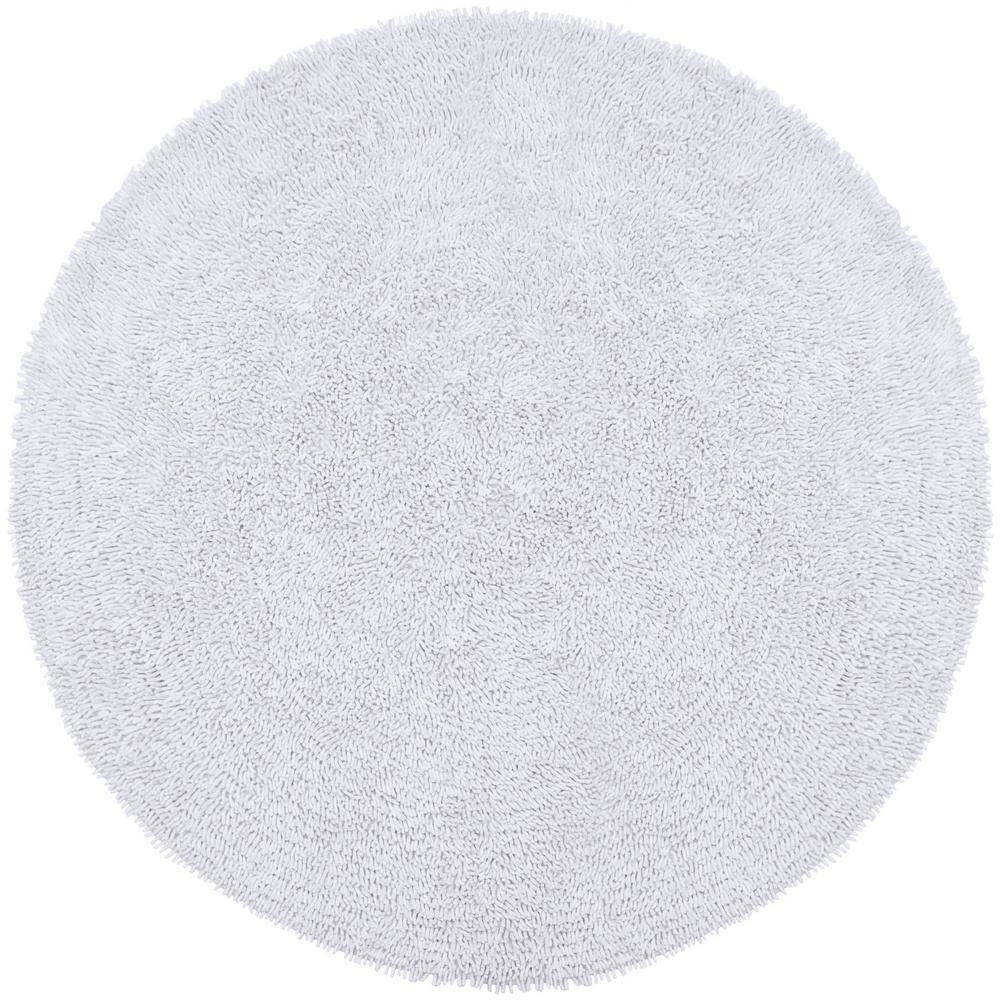 White Shag Chenille Twist 5 ft. x 5 ft. Round Area Rug