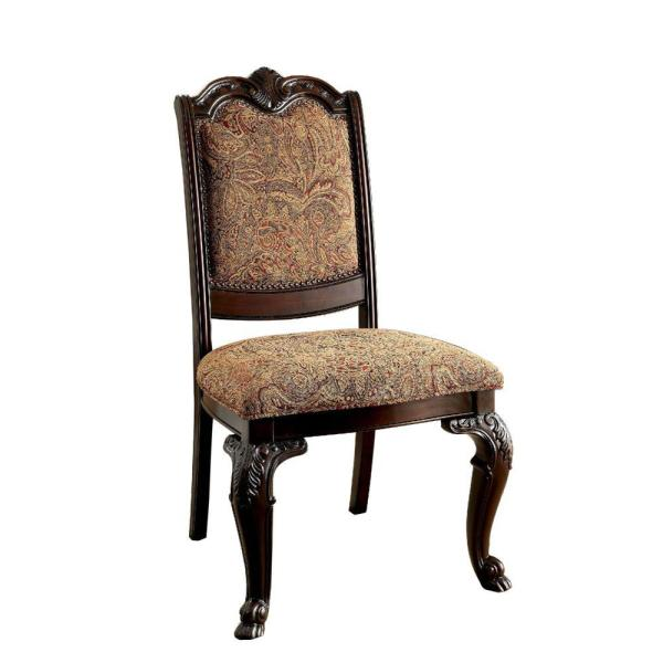 Traditional Brown Cherry Fabric Side Chair (Set of 2)