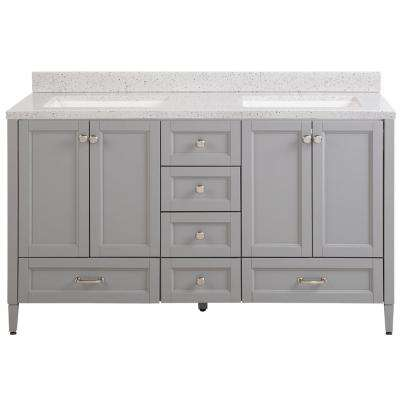 Claxby 61 in. W x 22 in. D Bath Vanity in Sterling Gray with Solid Surface Vanity Top in Silver Ash with White Sink